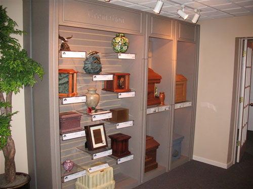 Our Urn and Cremation Casket Display